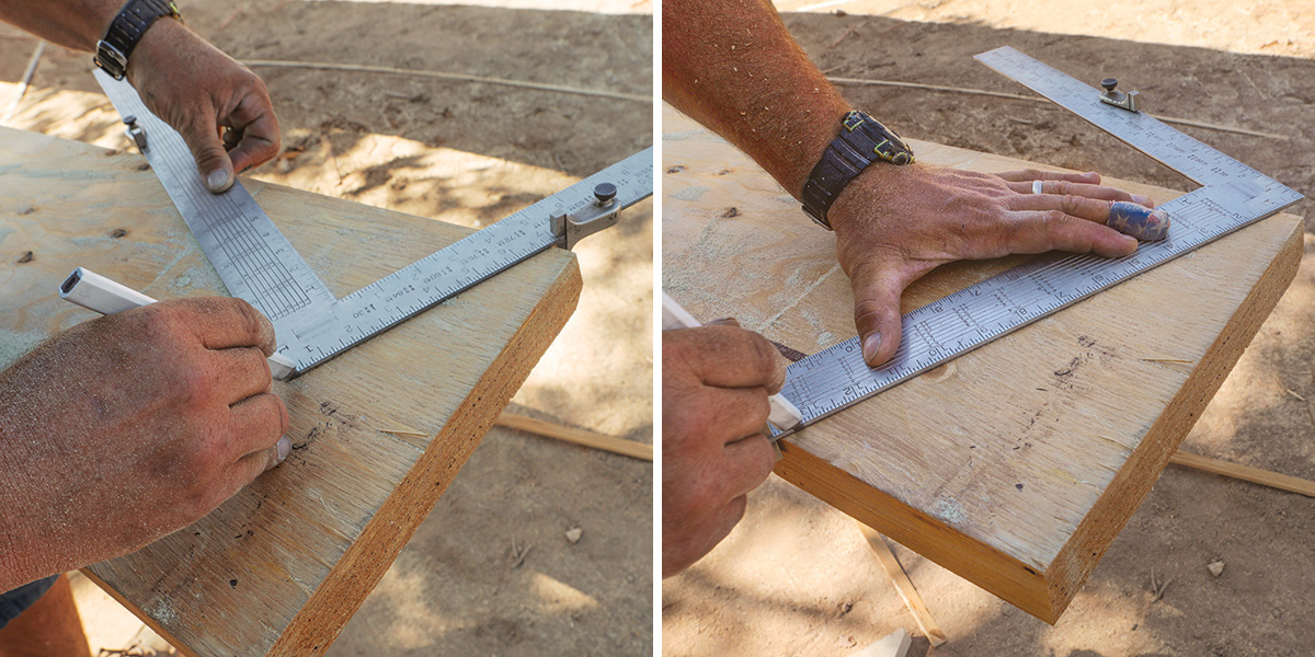 Laying out plumb cuts