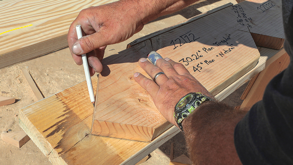using pattern for making cuts when cutting a custom roof frame