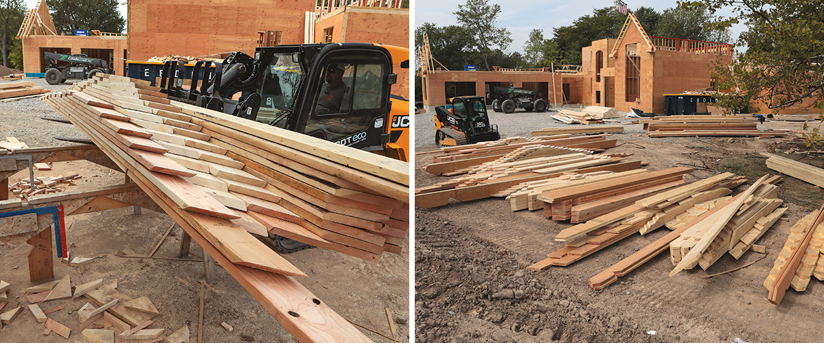 make organized piles of rafters when custom roof cutting