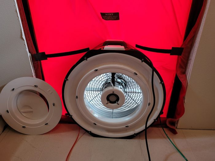 Close-up image of the fan in the blower door system