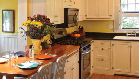 kitchen range with microwave oven hood