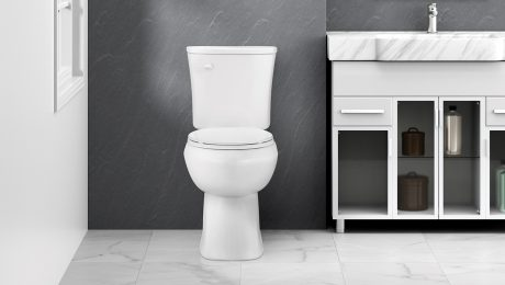 Black and white photo of a toilet in a bathroom