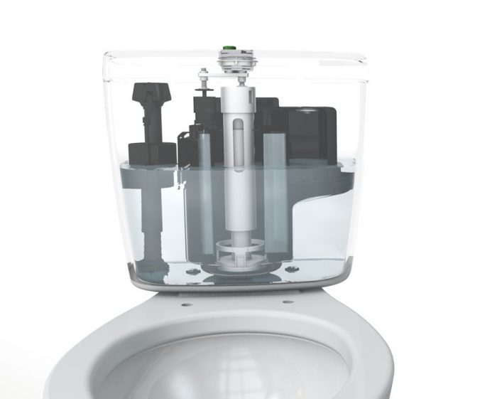 An illustration of the inside of the double chamber of a toilet
