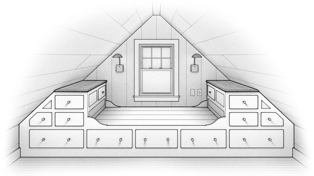 bed with built-in cabinets