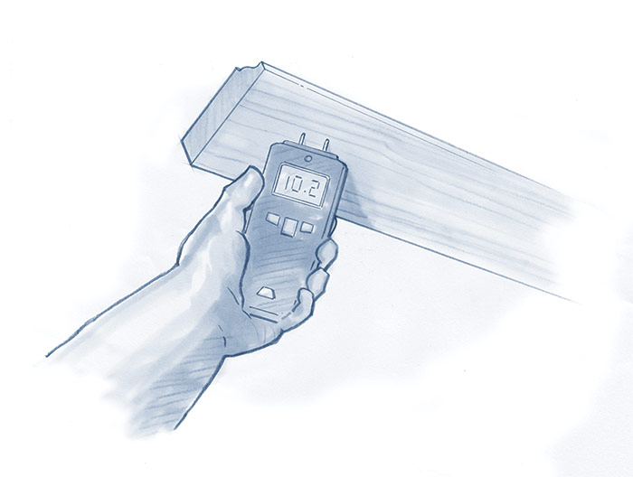 measure the moisture content of the wood