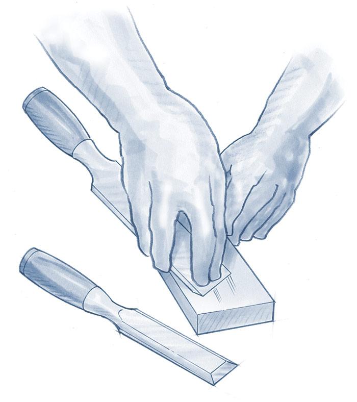 sharpen chisels on sharpening stones