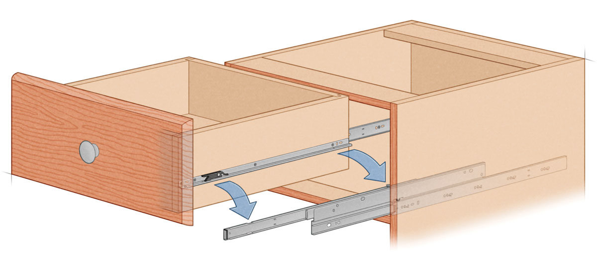 Heavy Duty Accuride 4034 side mount illustration