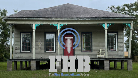 Image of a house raised on cement blocks with the podcast logo overlaid on top