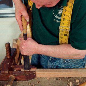 Mortise tuning. If need be, use a wide chisel to pare the sides of a mortise when fitting it to an already cut tenon.