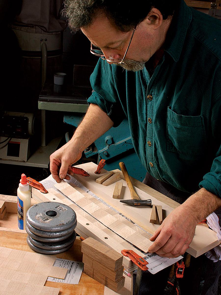 gluing veneer strips