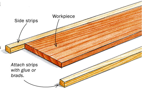 Add strips of wood to avoid snipe