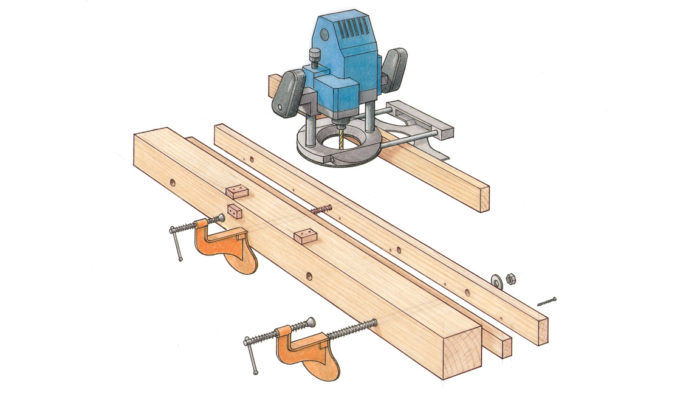 mortise and tenon joint using a router jig with Jeff Miller; shop made mortising jig