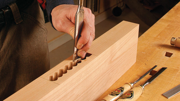 Using bench chisels for mortise and tenon joint with Garrett Hack; hand cut mortises
