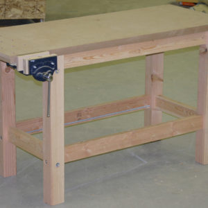Free plans for simple, basic woodworking workbench with vise