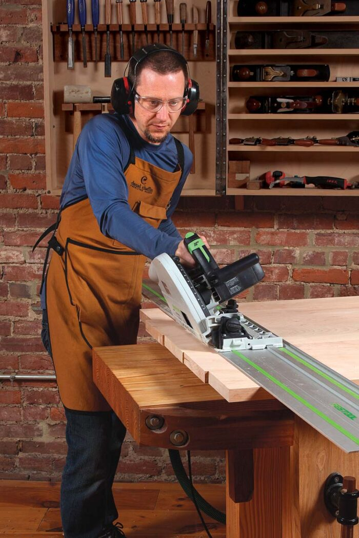 Bevel table ends first. One cut does it. Tilt the saw to 30° and try not to wobble.