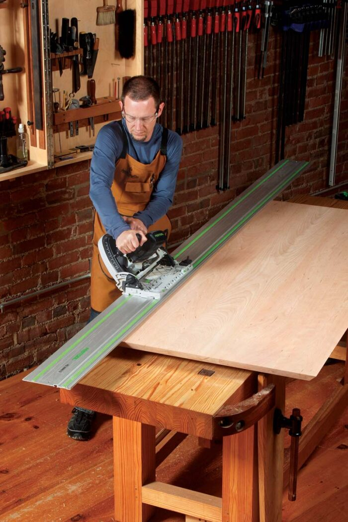 Start with a circular saw (or tablesaw) tilted to 45°