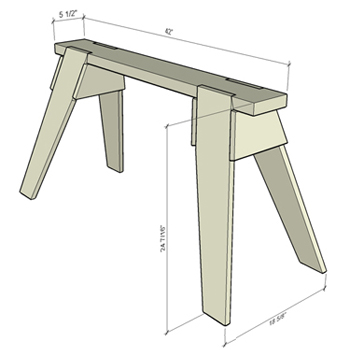 Classic Sawhorse Plans Cad Drawing