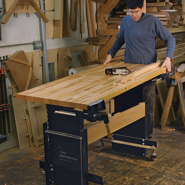 Fine Workbench For Any Height Finewoodworking Creativecarmelina Interior Chair Design Creativecarmelinacom