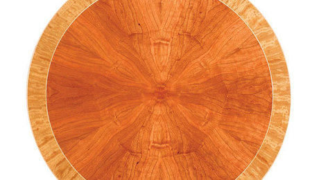 how to veneer a radial sunburst pattern on a table top