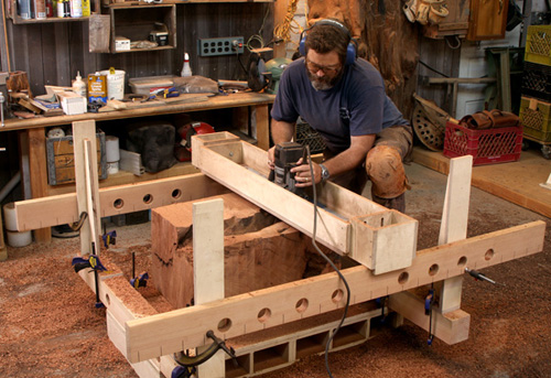 Router jig turns stumps into beautiful side tables finewoodworking click to enlarge greentooth Images