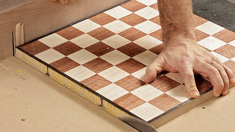 how to make a woodworking chess board with veneer
