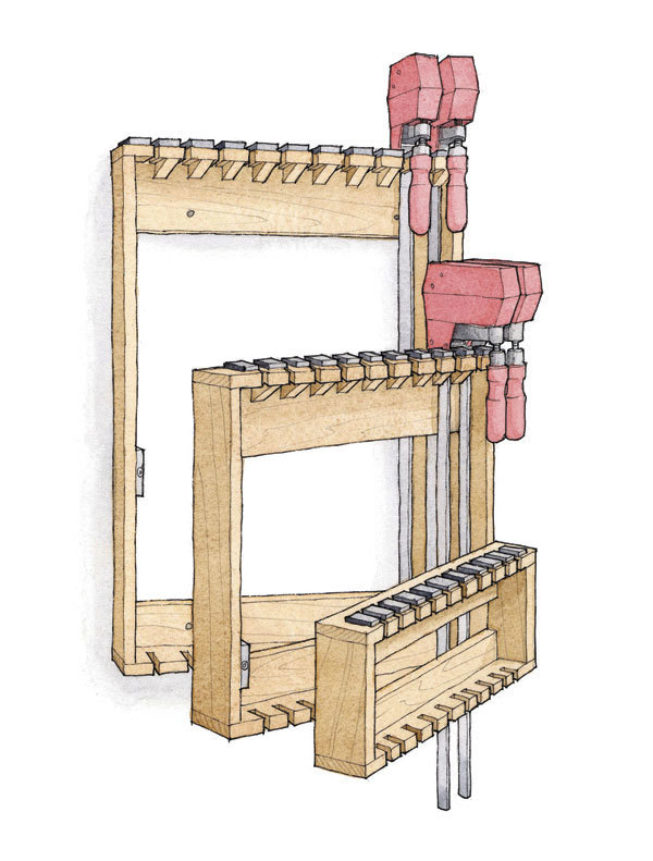 Article Image  sc 1 st  Fine Woodworking & Space-Saving Rack for Bar Clamps - FineWoodworking