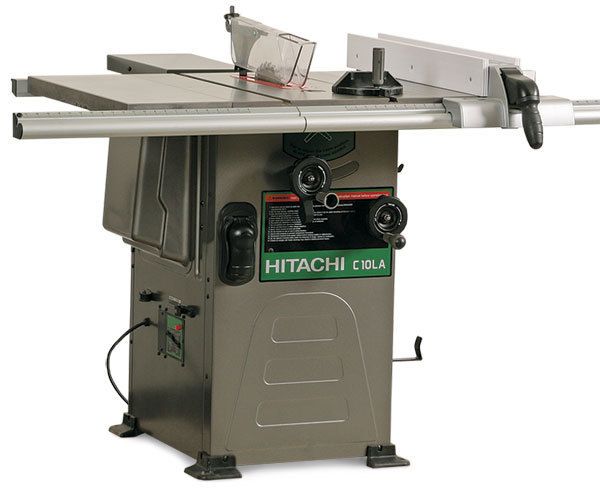 Hitachi c10la hybrid tablesaw finewoodworking includes small outfeed table blade angle scale is in tabletop poor parallelism required difficult adjustment greentooth Gallery