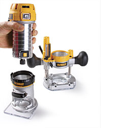 Dewalt dwp611pk router combo kit finewoodworking from afar dewalts new compact router looks like a laminate trimmer but upon closer inspection you see that its a true variable speed combination router keyboard keysfo Choice Image
