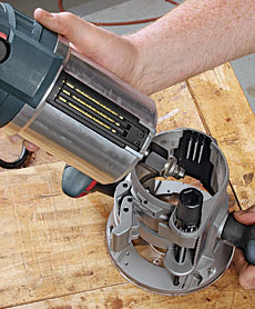 Bosch mrc23evsk combination router kit finewoodworking by wiring both bases bosch puts the trigger at your fingertips other combo kits put the on off switch on the motor forcing you to let go with one hand to greentooth Images