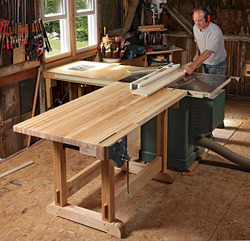 Cool Outfeed Table Doubles As A Workbench Finewoodworking Home Interior And Landscaping Oversignezvosmurscom