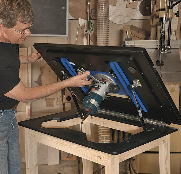 Dowelmax router lift finewoodworking easier access to a table mounted router keyboard keysfo Image collections