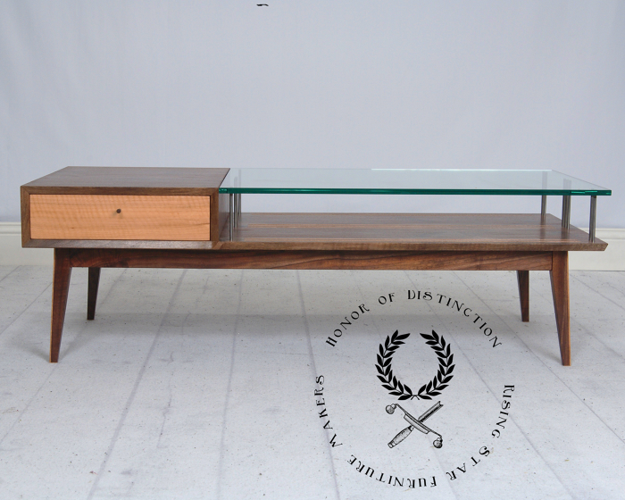 A Figured Walnut And Chinquapin Coffee Table With Glass. This Table  Features A Through Drawer With Handcut Dovetails. The Drawer Body And Lower  Shelf Are ...