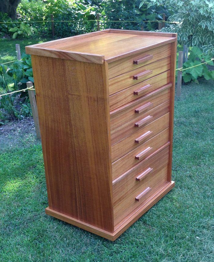 African Mahogany Tool Cabinet