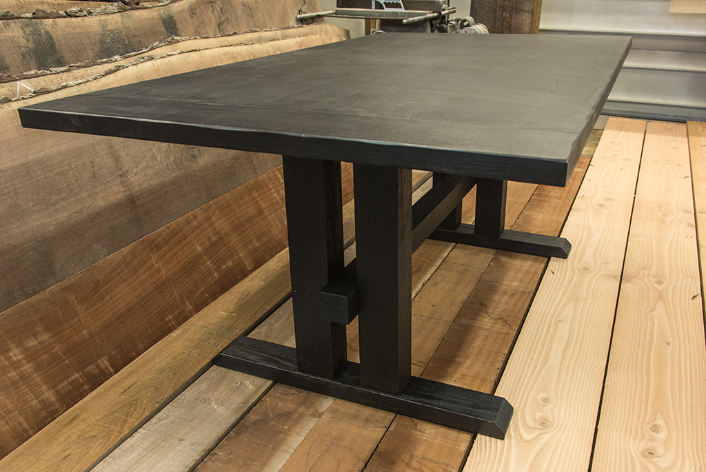 Custom Furniture Regina Dining Table With A Scorched Finish