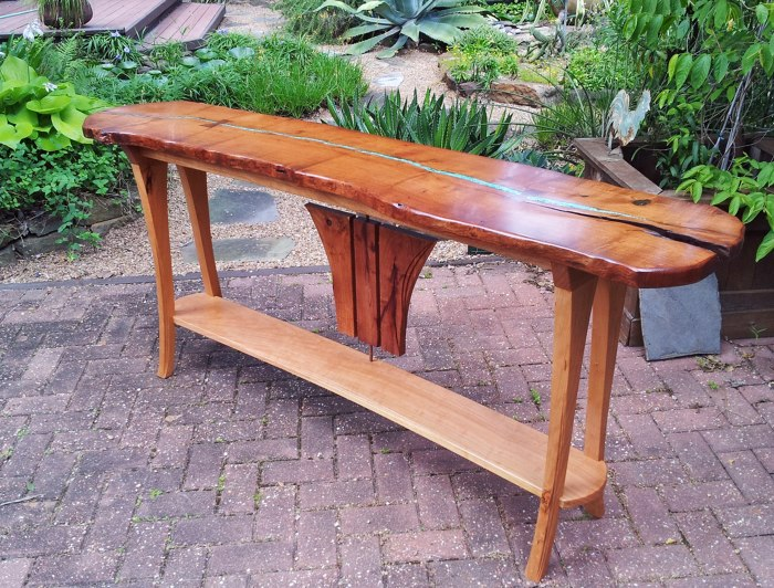 A Commissioned Mesquite And Cherry Sofa Table Built Around A 72u2033 Mesquite  Slab Accented With Turquoise And Copper Inlay And Secured With Functional  Mahogany ...