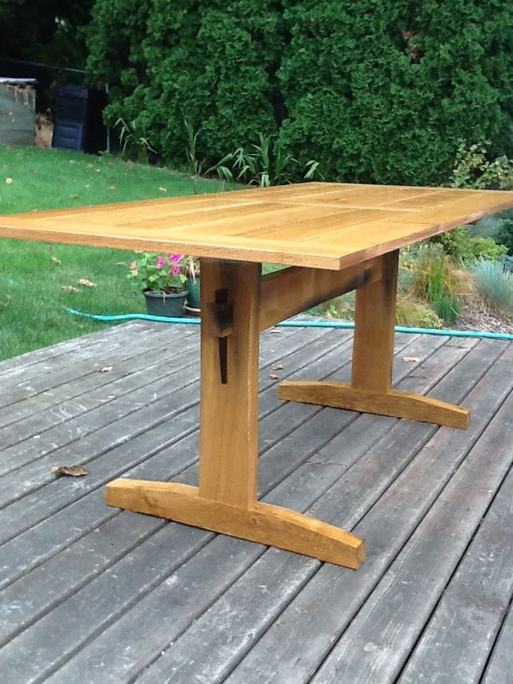Garry Oak Outdoor Trestle Table Finewoodworking