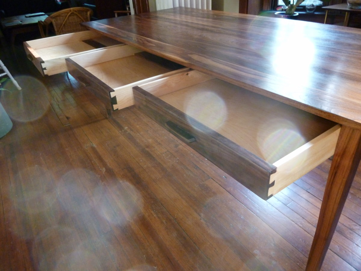 table with card dining made drawers round pin and in fsc solid talon walnut