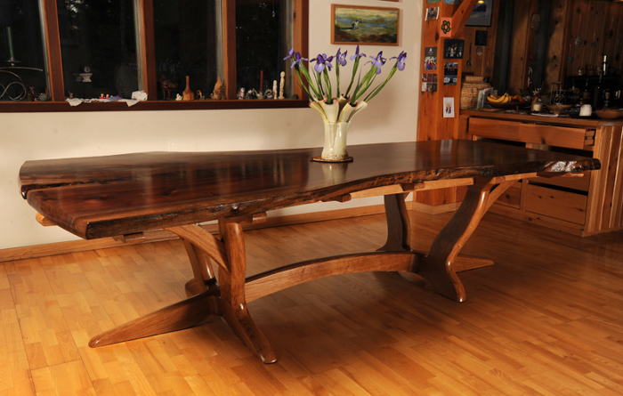 Walnut slab and white oak dining table - FineWoodworking
