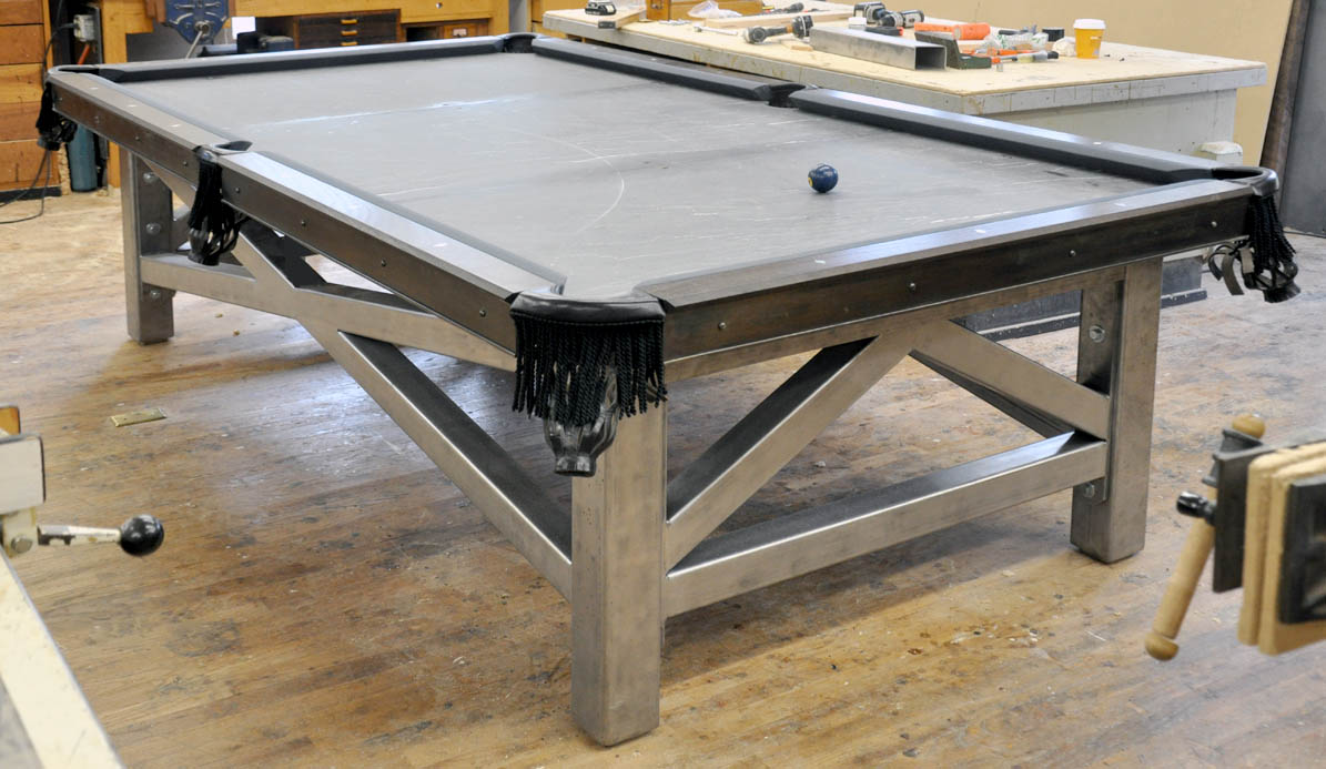 A Custom Steel And Wood Pool Table FineWoodworking - Pool table base