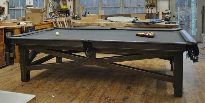 Exceptionnel 4and A Half By Nine Foot Custom Pool Table. Claro Walnut Rails, Figured  Mother Of Pearl Sights, Rainbow Finish Steel Base, Three Piece Slate And  Simonis ...