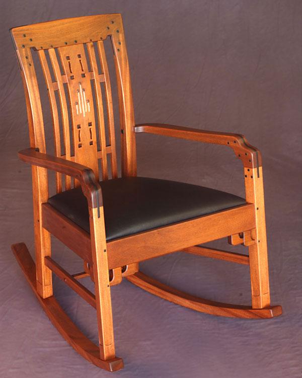 Greene and greene style rocking chair finewoodworking for Greene and greene inspired furniture