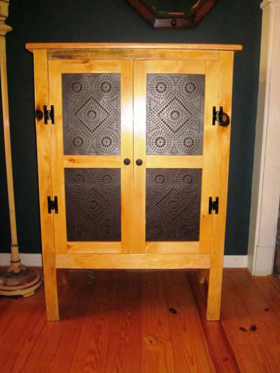 19th Century Hand Made Pine Pie Safe With Punched Tin Door Panels