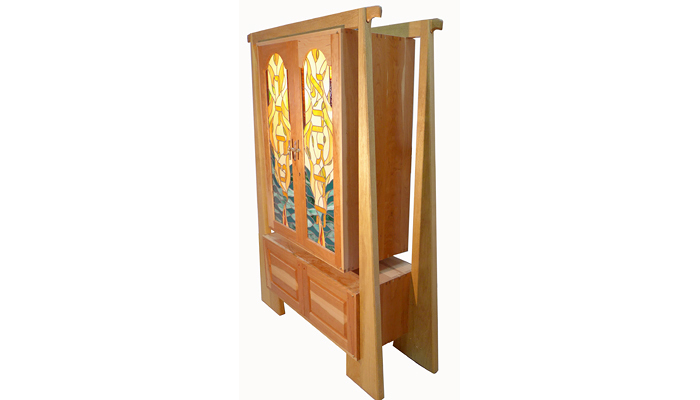 Newest Torah Ark Features Stained Glass Collaboration With  Gilles:http://gabrielbass.com/hanging Cherry Aron Kodesh/