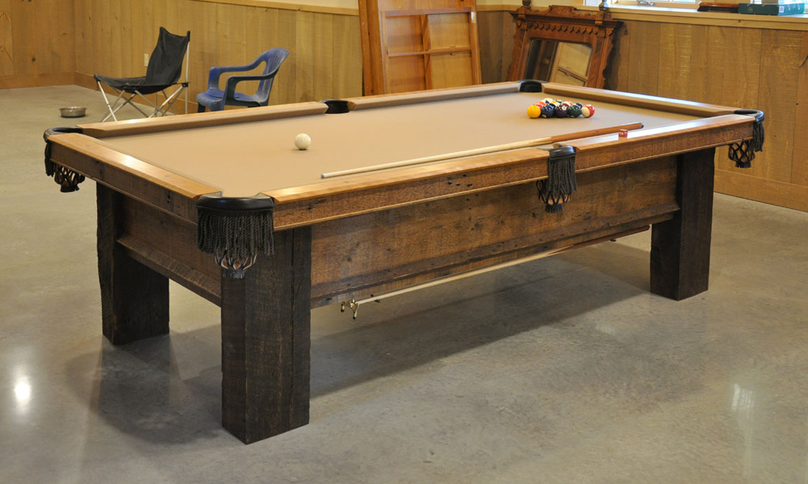 a custom pool table from reclaimed lumber finewoodworking. Black Bedroom Furniture Sets. Home Design Ideas