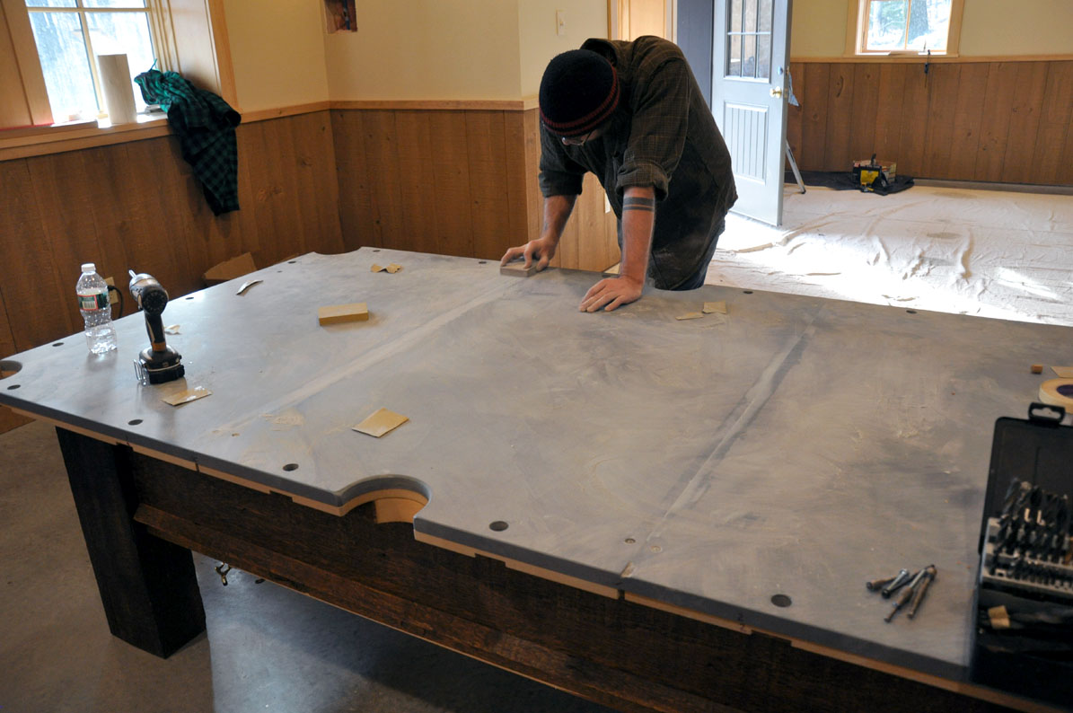 A Custom Pool Table From Reclaimed Lumber FineWoodworking - Leveling pool table slate