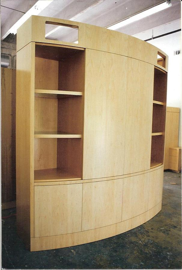 Curved Motorized Maple Wall Unit - FineWoodworking