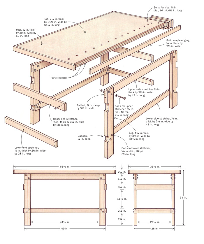 how to build your first workbench finewoodworking. Black Bedroom Furniture Sets. Home Design Ideas
