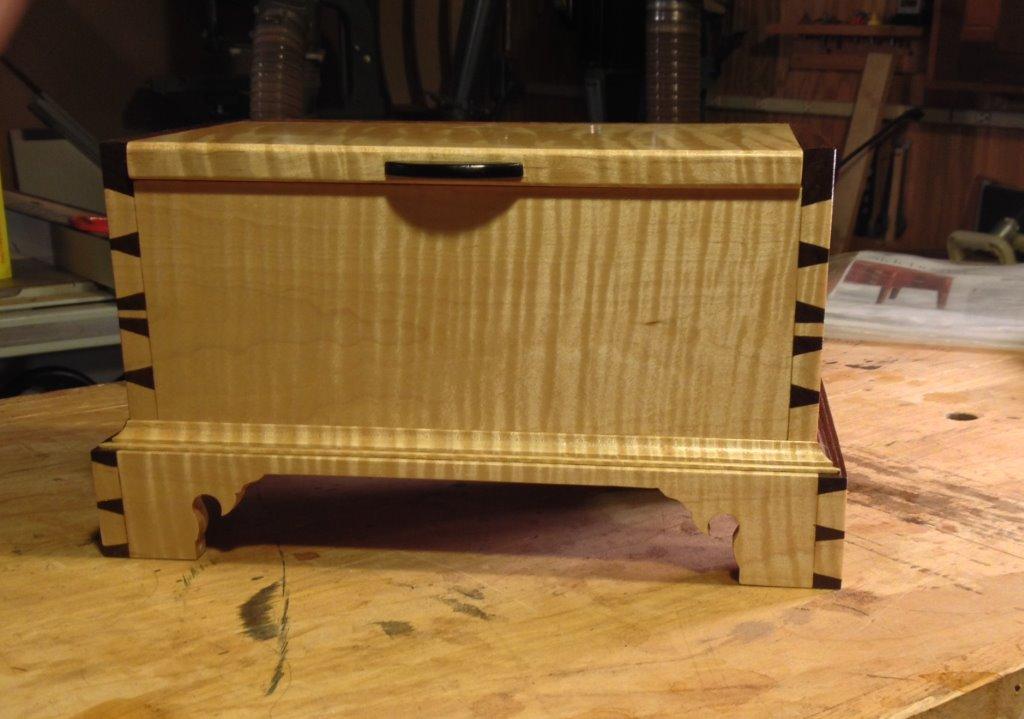 Keepsake Box -Handcrafted from Padauk Walnut and Tiger Maple SOLD-SB on 3119
