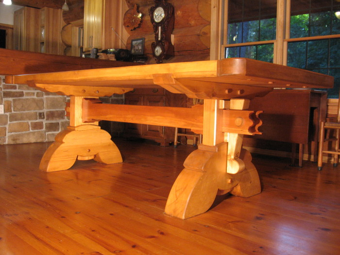 Used Trestle Tables #32 - I Used Englemann Spruce For The Top,legs,feet And Feet.Which Came From The  Same Timber That Our Log Home Was Cut.