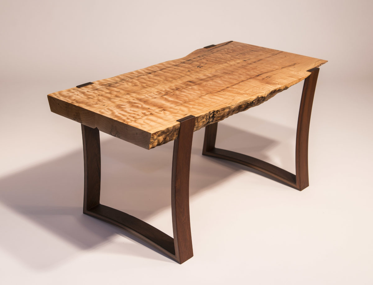 Live Edge Curly Maple Slab Coffee Table With Curved Ipe